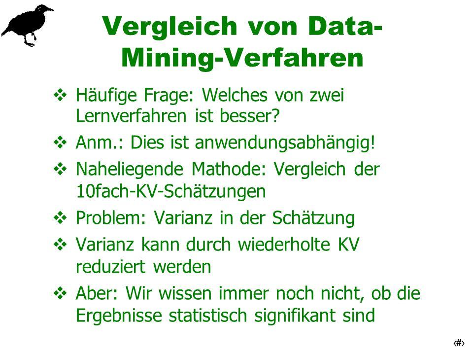 25 Vergleich von Data- Mining-Verfahren Häufige Frage: Welches von zwei Lernverfahren ist besser? Anm.: Dies ist anwendungsabhängig! Naheliegende Math