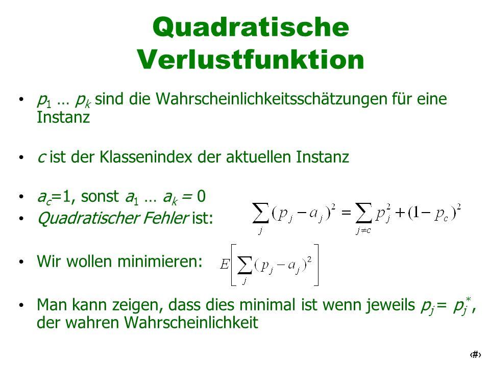 35 Quadratische Verlustfunktion p 1 … p k sind die Wahrscheinlichkeitsschätzungen für eine Instanz c ist der Klassenindex der aktuellen Instanz a c =1