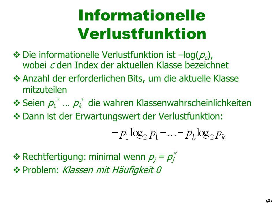 36 Informationelle Verlustfunktion Die informationelle Verlustfunktion ist –log(p c ), wobei c den Index der aktuellen Klasse bezeichnet Anzahl der er