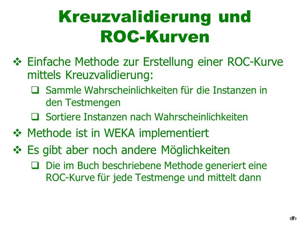 45 Kreuzvalidierung und ROC-Kurven Einfache Methode zur Erstellung einer ROC-Kurve mittels Kreuzvalidierung: Sammle Wahrscheinlichkeiten für die Insta