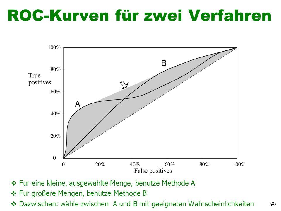 46 ROC-Kurven für zwei Verfahren Für eine kleine, ausgewählte Menge, benutze Methode A Für größere Mengen, benutze Methode B Dazwischen: wähle zwische