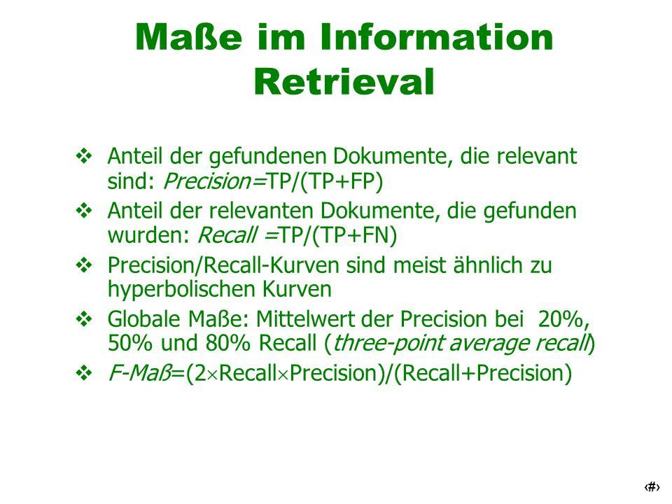 49 Maße im Information Retrieval Anteil der gefundenen Dokumente, die relevant sind: Precision=TP/(TP+FP) Anteil der relevanten Dokumente, die gefunde