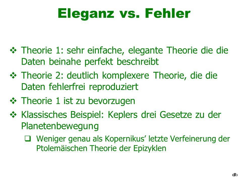 58 Eleganz vs. Fehler Theorie 1: sehr einfache, elegante Theorie die die Daten beinahe perfekt beschreibt Theorie 2: deutlich komplexere Theorie, die