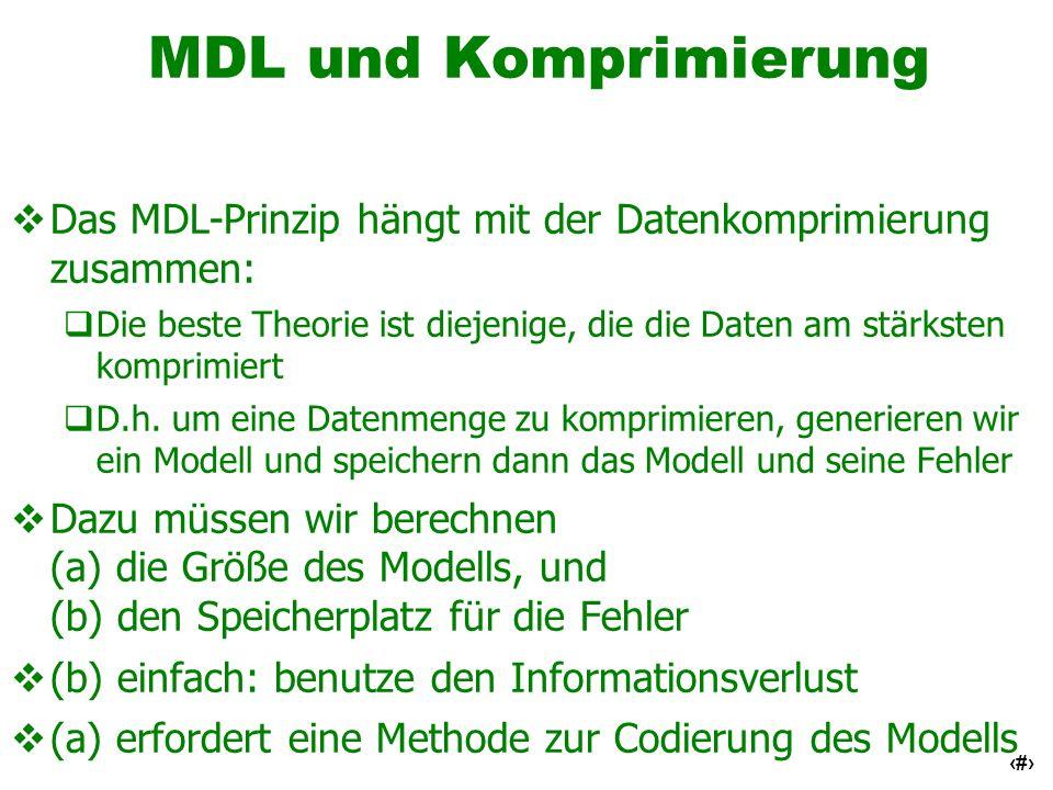 59 MDL und Komprimierung Das MDL-Prinzip hängt mit der Datenkomprimierung zusammen: Die beste Theorie ist diejenige, die die Daten am stärksten kompri