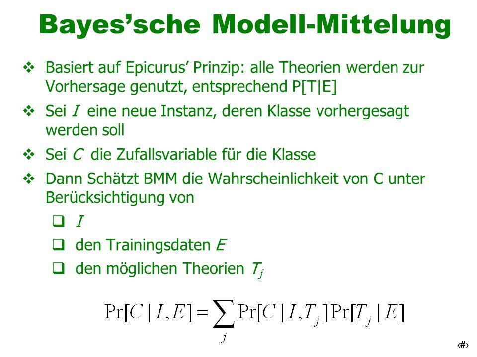 63 Bayessche Modell-Mittelung Basiert auf Epicurus Prinzip: alle Theorien werden zur Vorhersage genutzt, entsprechend P[T E] Sei I eine neue Instanz,