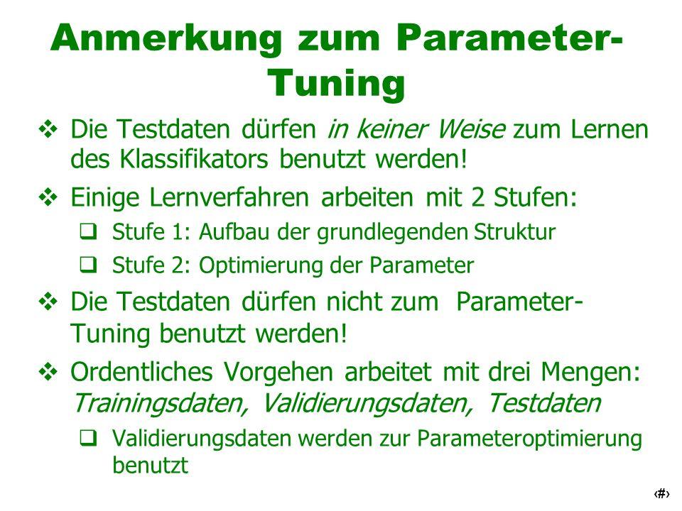 7 Anmerkung zum Parameter- Tuning Die Testdaten dürfen in keiner Weise zum Lernen des Klassifikators benutzt werden! Einige Lernverfahren arbeiten mit