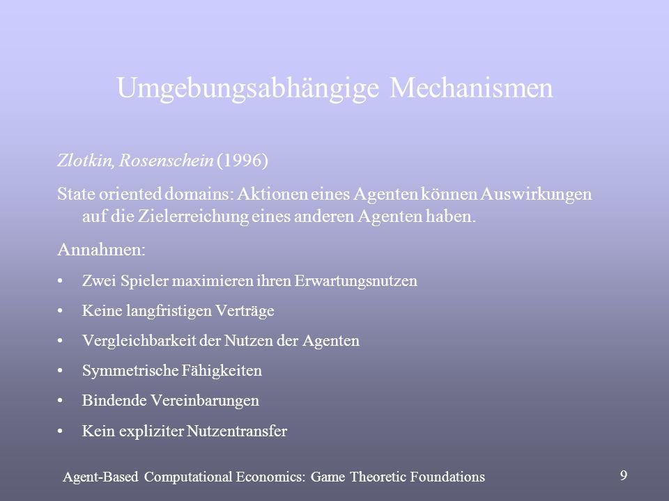 Umgebungsabhängige Mechanismen Zlotkin, Rosenschein (1996) State oriented domains: Aktionen eines Agenten können Auswirkungen auf die Zielerreichung e