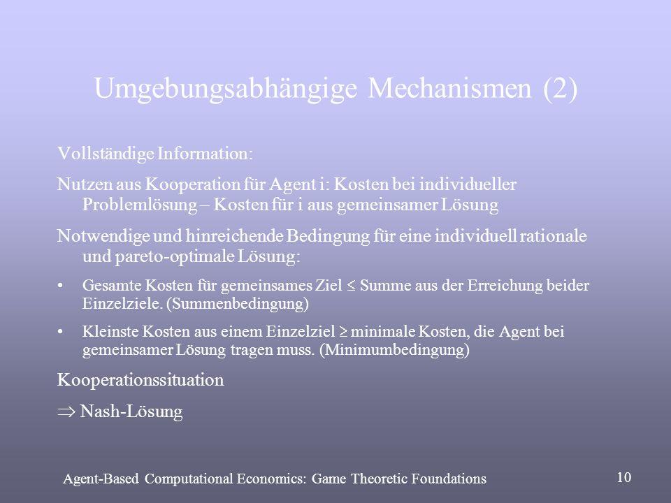 Umgebungsabhängige Mechanismen (2) Vollständige Information: Nutzen aus Kooperation für Agent i: Kosten bei individueller Problemlösung – Kosten für i