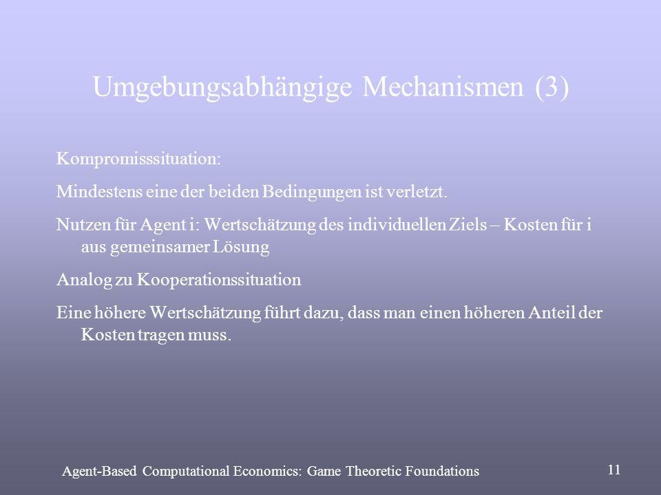 Umgebungsabhängige Mechanismen (3) Kompromisssituation: Mindestens eine der beiden Bedingungen ist verletzt. Nutzen für Agent i: Wertschätzung des ind