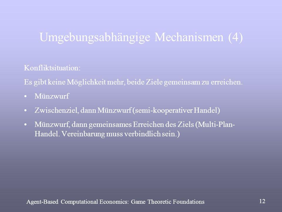Umgebungsabhängige Mechanismen (4) Konfliktsituation: Es gibt keine Möglichkeit mehr, beide Ziele gemeinsam zu erreichen. Münzwurf Zwischenziel, dann