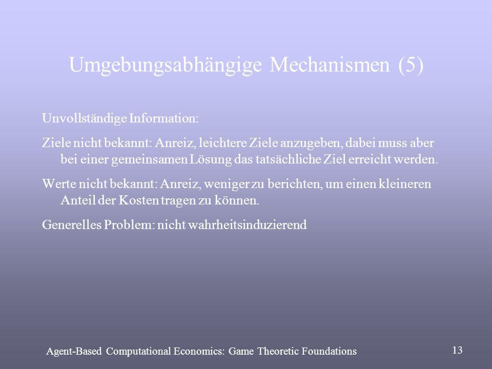 Umgebungsabhängige Mechanismen (5) Unvollständige Information: Ziele nicht bekannt: Anreiz, leichtere Ziele anzugeben, dabei muss aber bei einer gemei