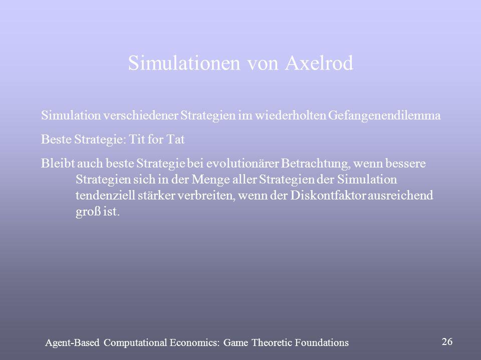 Simulationen von Axelrod Simulation verschiedener Strategien im wiederholten Gefangenendilemma Beste Strategie: Tit for Tat Bleibt auch beste Strategi