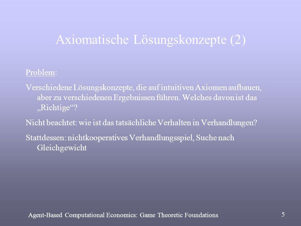 Strategisches Lösungskonzept Rubinstein: Unendlicher Zeithorizont Abwechselnd Gebote Nutzen sinkt im Zeitablauf Teilspielperfektes Gleichgewicht: Konstante Kosten: c 1 > c 2: (c 2, 1-c 2 ) falls 1.