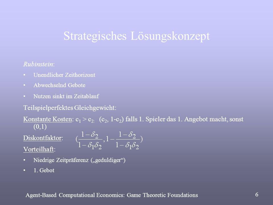 Strategisches Lösungskonzept Rubinstein: Unendlicher Zeithorizont Abwechselnd Gebote Nutzen sinkt im Zeitablauf Teilspielperfektes Gleichgewicht: Kons