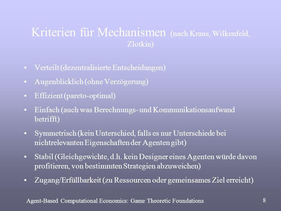 Kriterien für Mechanismen (nach Kraus, Wilkenfeld, Zlotkin) Verteilt (dezentralisierte Entscheidungen) Augenblicklich (ohne Verzögerung) Effizient (pa