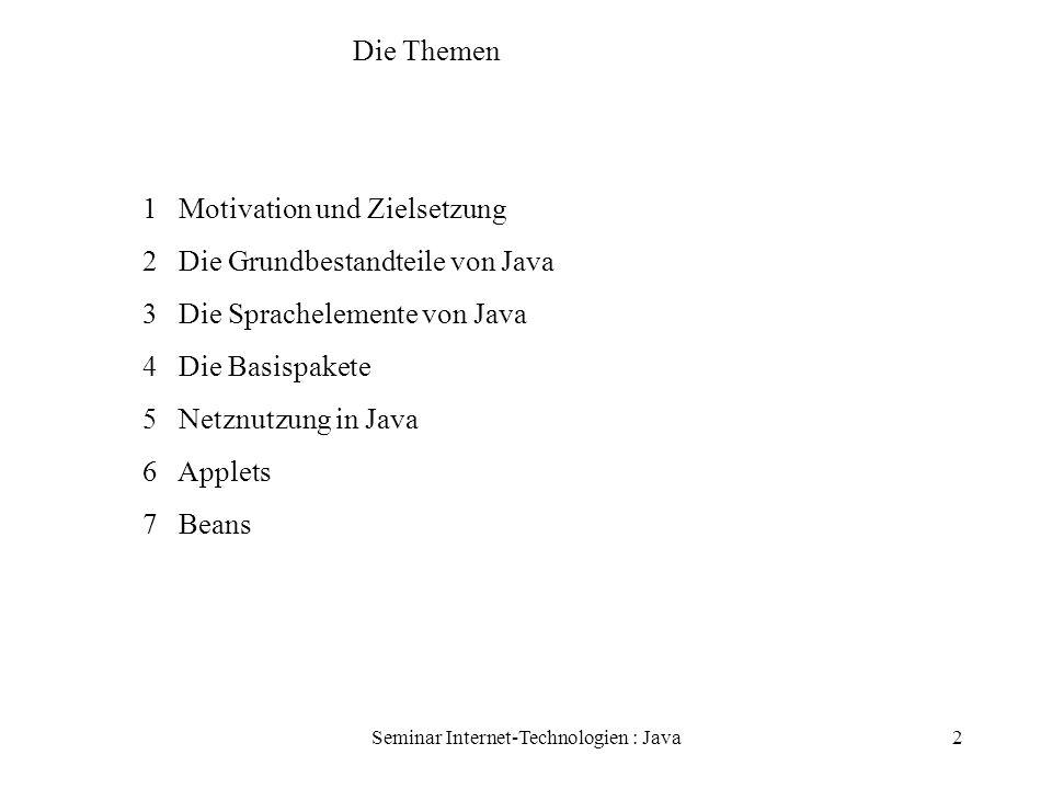 Seminar Internet-Technologien : Java13 Basispakete Packages: Gruppen zusammengehörender Klassen und Schnittstellen Java.lang: Grundlegende Klassen java.io: Ein- und Ausgabe (Ströme) java.util: z.B.