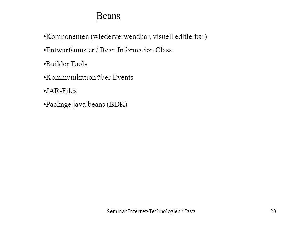 Seminar Internet-Technologien : Java23 Beans Komponenten (wiederverwendbar, visuell editierbar) Entwurfsmuster / Bean Information Class Builder Tools