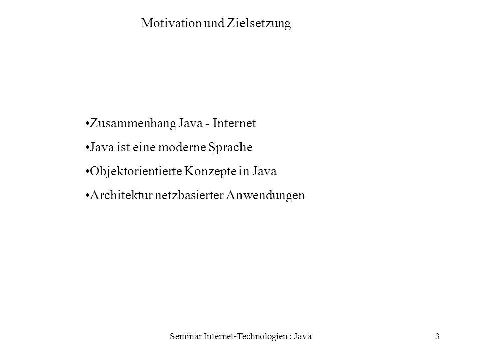 Seminar Internet-Technologien : Java14 Fehlerbehandlung Fehler behandlen durch Ausnahmen Bsp: readfile { try{öffne Datei; Groesse ermitteln; Speicher anfordern; Datei lesen; Datei schliessen; } catch (fileOpenFailed) {...} catch (sizeDeterminationError) {...}...