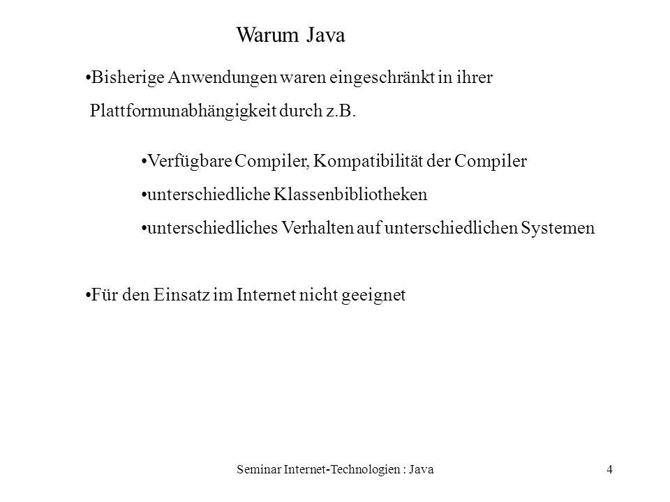 Seminar Internet-Technologien : Java4 Warum Java Bisherige Anwendungen waren eingeschränkt in ihrer Plattformunabhängigkeit durch z.B. Verfügbare Comp