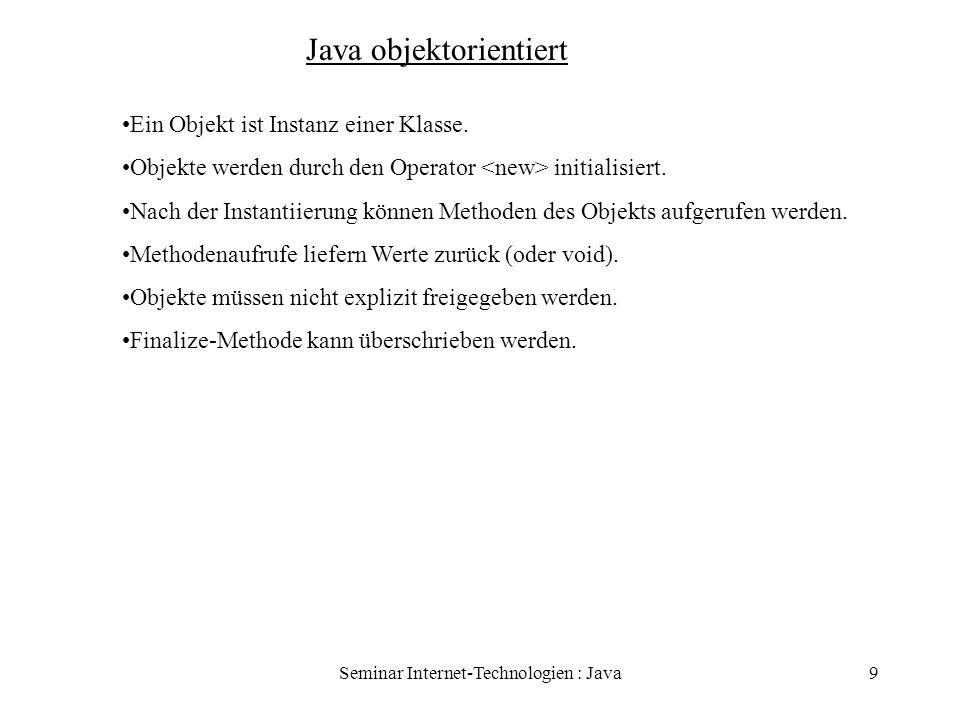 Seminar Internet-Technologien : Java10 Java objektorientiert Klasse ist Schablone für Objekte [modifikatoren] class Klassenname [extends] Oberklassenname [implements] Schnittstellenname Modifikatoren: public, final, abstract implements: Klasse implementiert Schnittstelle Bsp: public class TalkClientApplet extends Applet implements Runnable {...}