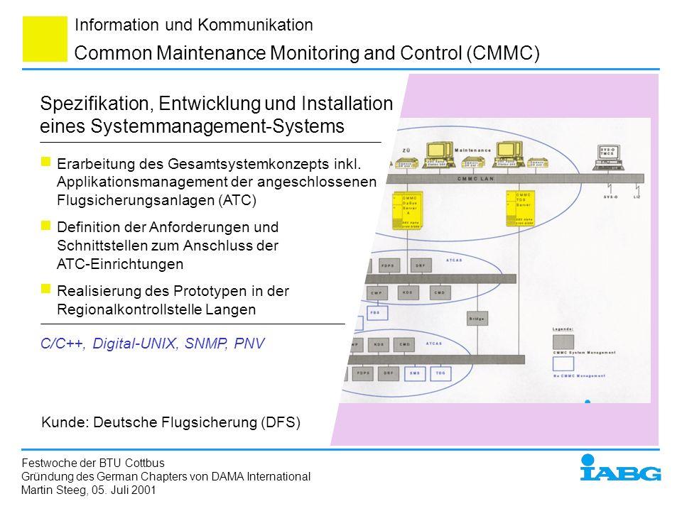 Information und Kommunikation Common Maintenance Monitoring and Control (CMMC) Spezifikation, Entwicklung und Installation eines Systemmanagement-Syst