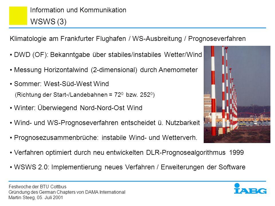 Information und Kommunikation WSWS (3) Festwoche der BTU Cottbus Gründung des German Chapters von DAMA International Martin Steeg, 05. Juli 2001 Klima