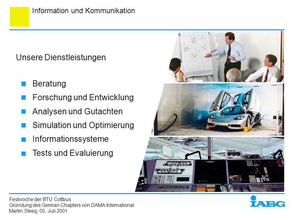 Information und Kommunikation Unsere Dienstleistungen Beratung Forschung und Entwicklung Analysen und Gutachten Simulation und Optimierung Information
