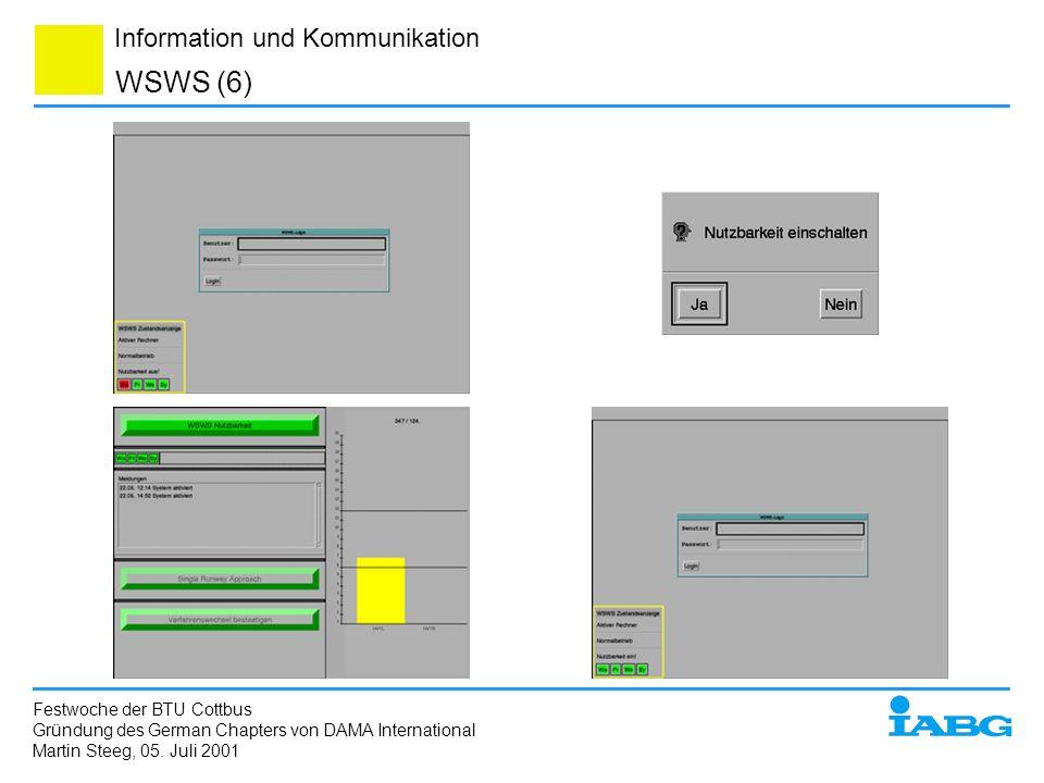 Information und Kommunikation WSWS (6) Festwoche der BTU Cottbus Gründung des German Chapters von DAMA International Martin Steeg, 05. Juli 2001