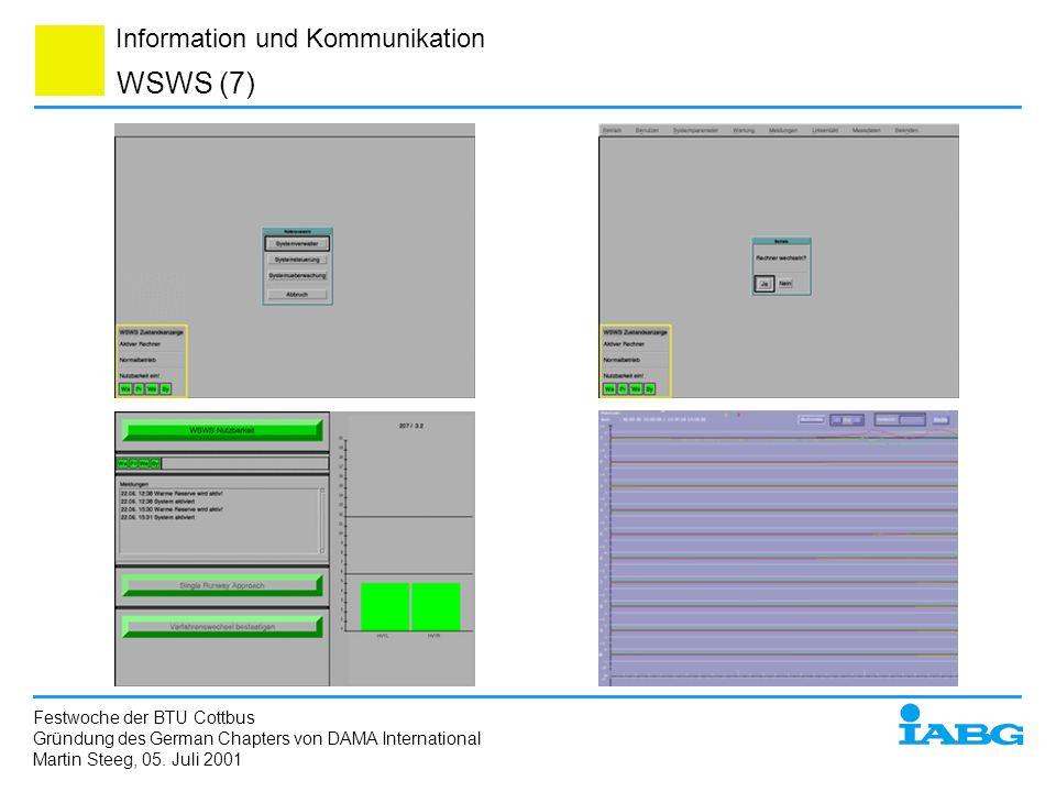 Information und Kommunikation WSWS (7) Festwoche der BTU Cottbus Gründung des German Chapters von DAMA International Martin Steeg, 05. Juli 2001