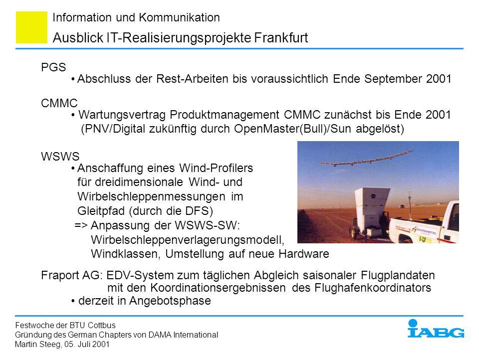 Information und Kommunikation Festwoche der BTU Cottbus Gründung des German Chapters von DAMA International Martin Steeg, 05. Juli 2001 Ausblick IT-Re