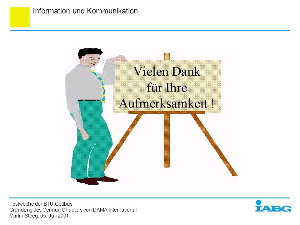Information und Kommunikation Festwoche der BTU Cottbus Gründung des German Chapters von DAMA International Martin Steeg, 05. Juli 2001