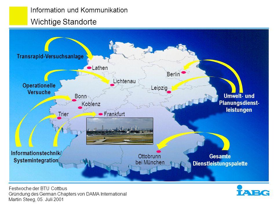 Information und Kommunikation Wichtige Standorte TrierFrankfurt Leipzig Berlin Bonn Lathen Lichtenau Ottobrunn bei München Koblenz Gesamte Dienstleist