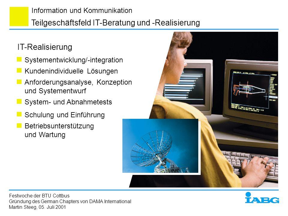 Information und Kommunikation Systementwicklung/-integration Kundenindividuelle Lösungen Anforderungsanalyse, Konzeption und Systementwurf Schulung un