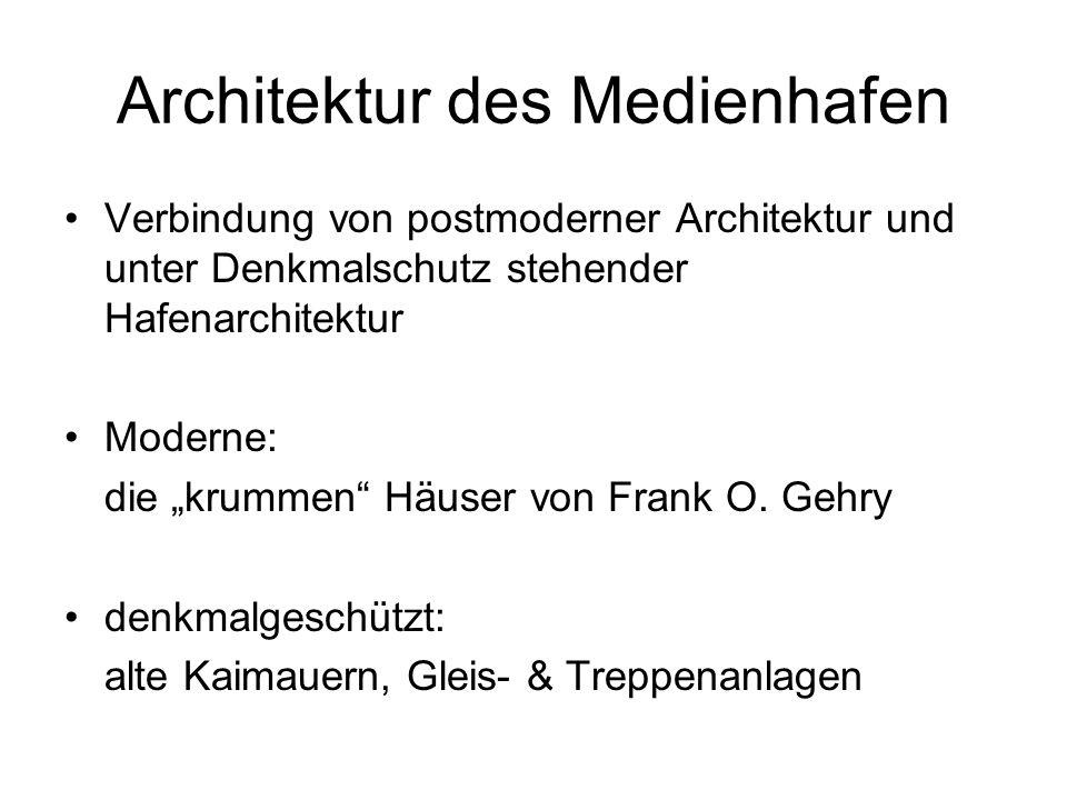 Architektur des Medienhafen Verbindung von postmoderner Architektur und unter Denkmalschutz stehender Hafenarchitektur Moderne: die krummen Häuser von