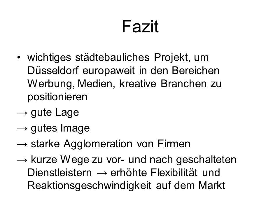 Fazit wichtiges städtebauliches Projekt, um Düsseldorf europaweit in den Bereichen Werbung, Medien, kreative Branchen zu positionieren gute Lage gutes