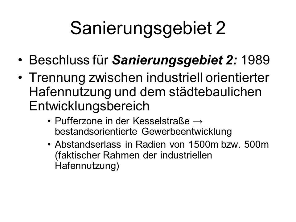 Sanierungsgebiet 2 Beschluss für Sanierungsgebiet 2: 1989 Trennung zwischen industriell orientierter Hafennutzung und dem städtebaulichen Entwicklungs