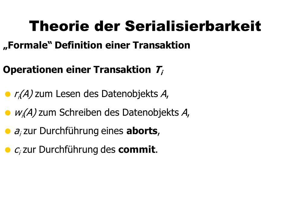 Theorie der Serialisierbarkeit Formale Definition einer Transaktion Operationen einer Transaktion T i r i (A) zum Lesen des Datenobjekts A, w i (A) zu