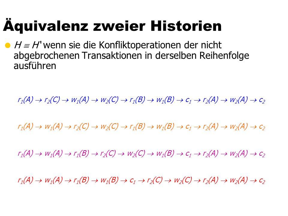 Äquivalenz zweier Historien H H wenn sie die Konfliktoperationen der nicht abgebrochenen Transaktionen in derselben Reihenfolge ausführen r 1 (A) r 2