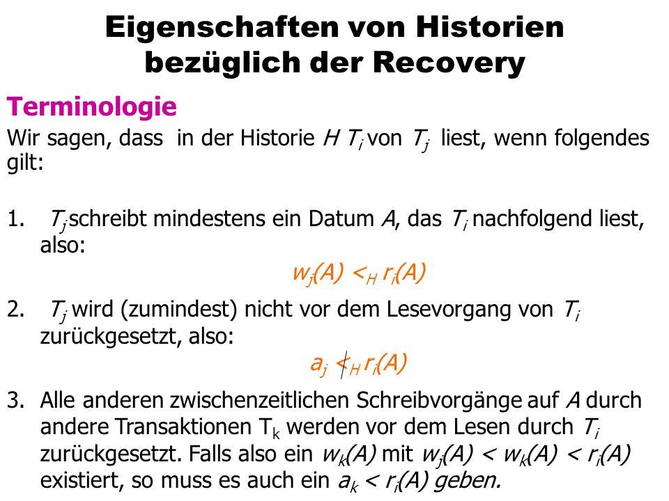 Eigenschaften von Historien bezüglich der Recovery Terminologie Wir sagen, dass in der Historie H T i von T j liest, wenn folgendes gilt: 1. T j schre