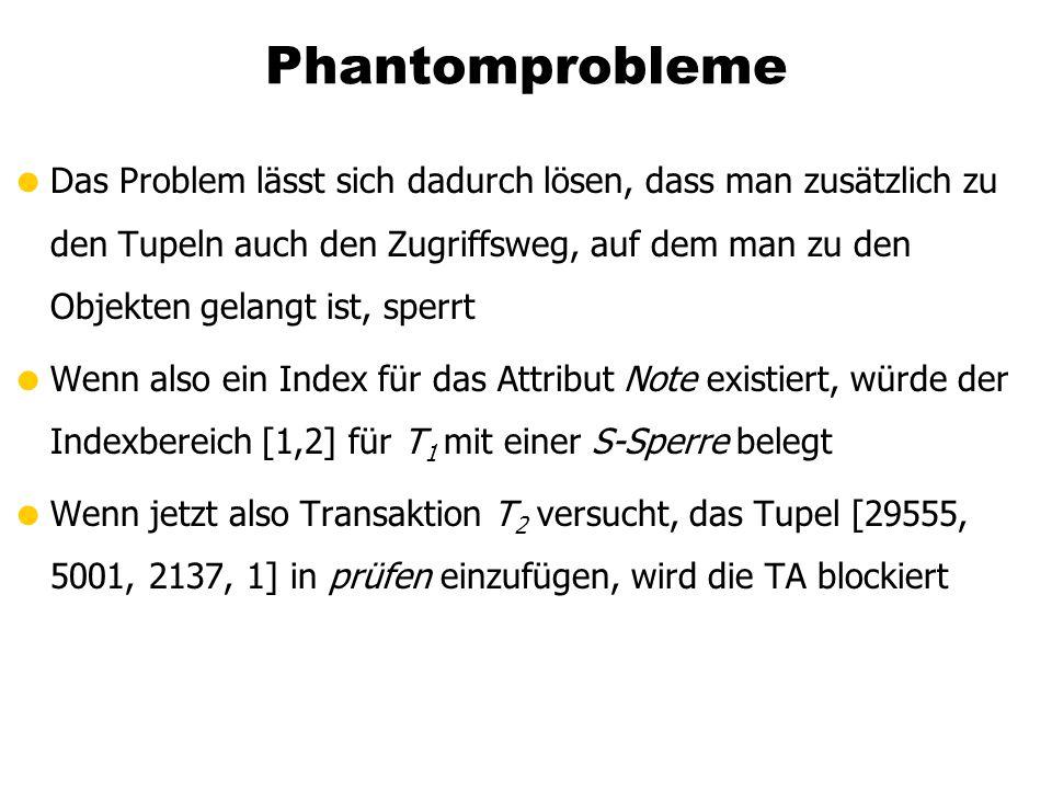 Phantomprobleme Das Problem lässt sich dadurch lösen, dass man zusätzlich zu den Tupeln auch den Zugriffsweg, auf dem man zu den Objekten gelangt ist,