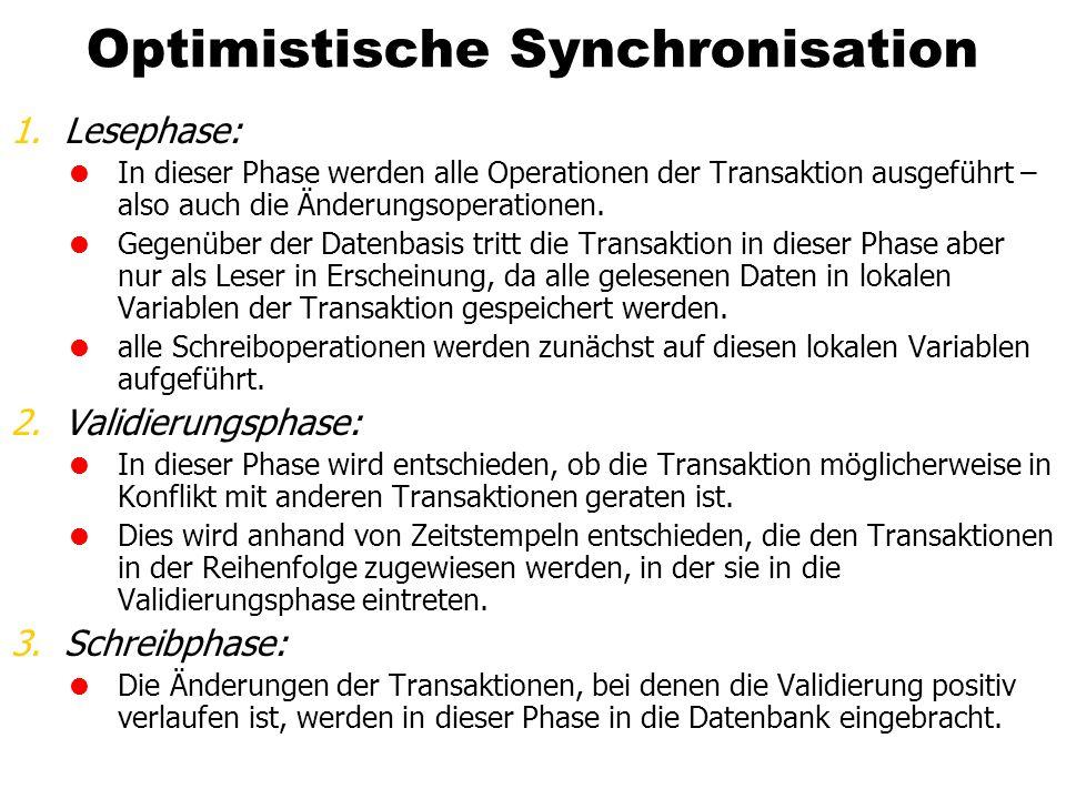 Optimistische Synchronisation 1.Lesephase: In dieser Phase werden alle Operationen der Transaktion ausgeführt – also auch die Änderungsoperationen. Ge