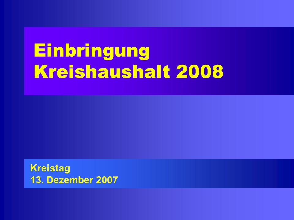Einbringung Kreishaushalt 2008 Kreistag 13. Dezember 2007
