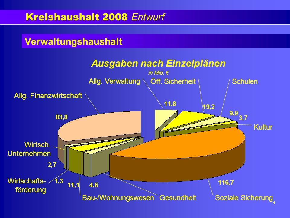 Kreishaushalt 2008 Entwurf 5 Verwaltungshaushalt Zuschussbedarf 2006: 47,9 Mio.