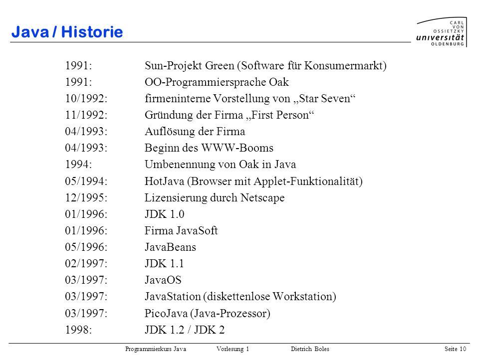 Programmierkurs Java Vorlesung 1 Dietrich Boles Seite 10 Java / Historie 1991: Sun-Projekt Green (Software für Konsumermarkt) 1991:OO-Programmiersprac