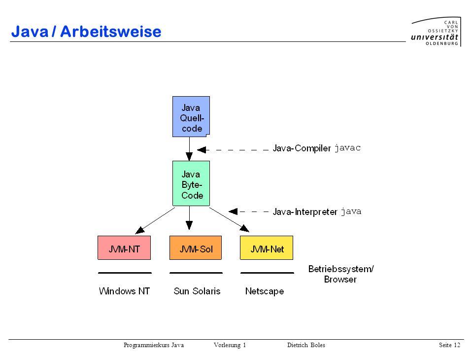 Programmierkurs Java Vorlesung 1 Dietrich Boles Seite 12 Java / Arbeitsweise