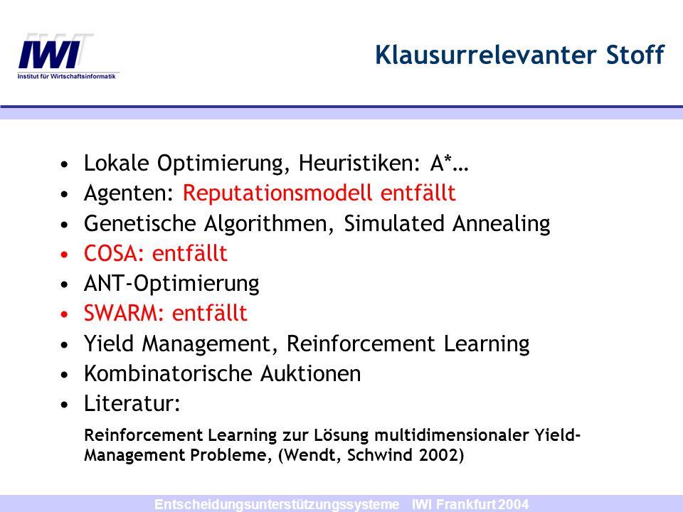 Entscheidungsunterstützungssysteme IWI Frankfurt 2004 Klausurrelevanter Stoff Lokale Optimierung, Heuristiken: A*… Agenten: Reputationsmodell entfällt Genetische Algorithmen, Simulated Annealing COSA: entfällt ANT-Optimierung SWARM: entfällt Yield Management, Reinforcement Learning Kombinatorische Auktionen Literatur: Reinforcement Learning zur Lösung multidimensionaler Yield- Management Probleme, (Wendt, Schwind 2002)