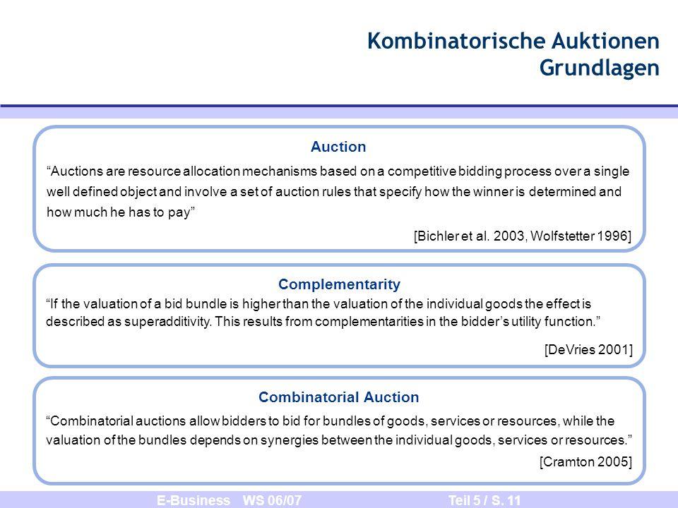 E-Business WS 06/07 Teil 5 / S. 11 Kombinatorische Auktionen Grundlagen Auction Auctions are resource allocation mechanisms based on a competitive bid