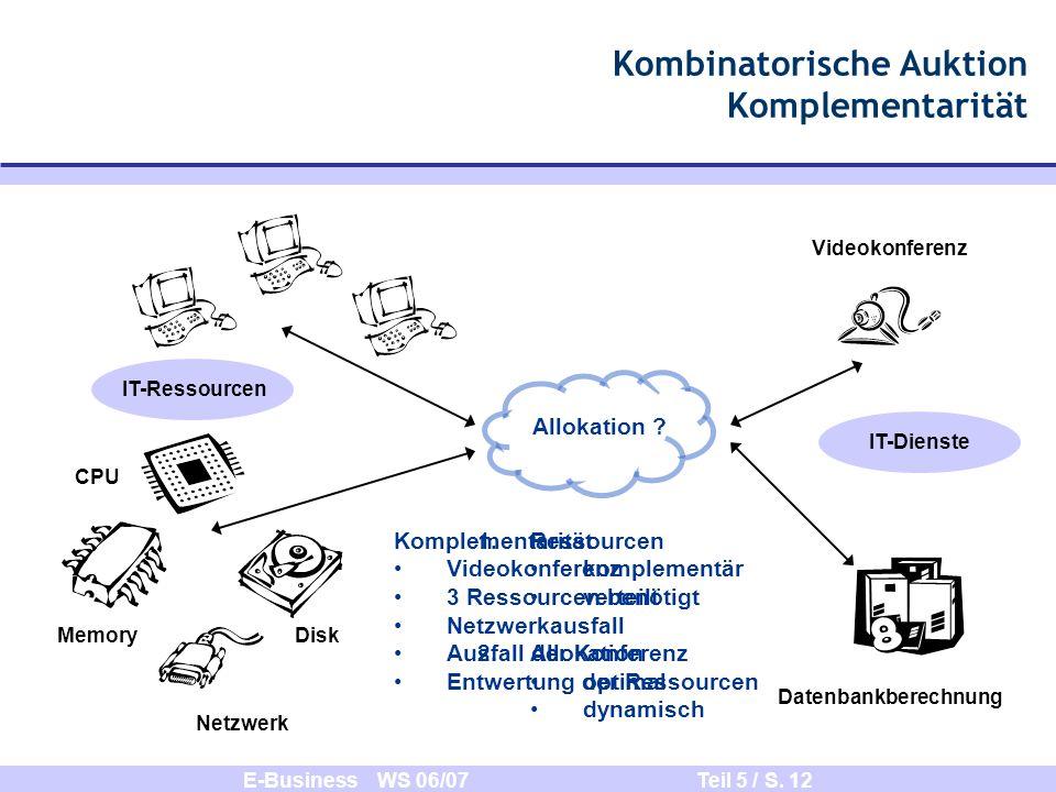 E-Business WS 06/07 Teil 5 / S. 12 Kombinatorische Auktion Komplementarität Memory Netzwerk CPU Disk Allokation ? IT-Ressourcen IT-Dienste Videokonfer