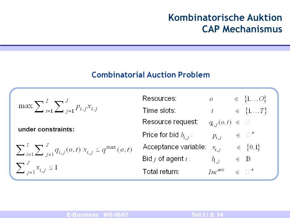 E-Business WS 06/07 Teil 5 / S. 14 Combinatorial Auction Problem Kombinatorische Auktion CAP Mechanismus under constraints: