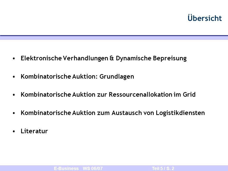 E-Business WS 06/07 Teil 5 / S. 2 Übersicht Elektronische Verhandlungen & Dynamische Bepreisung Kombinatorische Auktion: Grundlagen Kombinatorische Au